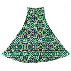 LuLaRoe Neon Green Tie Dye Maxi Skirt